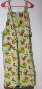 Vintage Linen Fruit Print Jumpsuit Size M USA Made